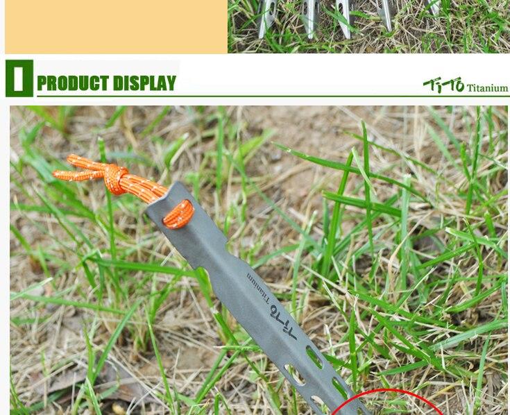 TiTo 6pcs Titanium Tent Peg V Shape titanium Spike Windproof Outdoor Camping titanium tent nail Accessories Titanium Tent stake