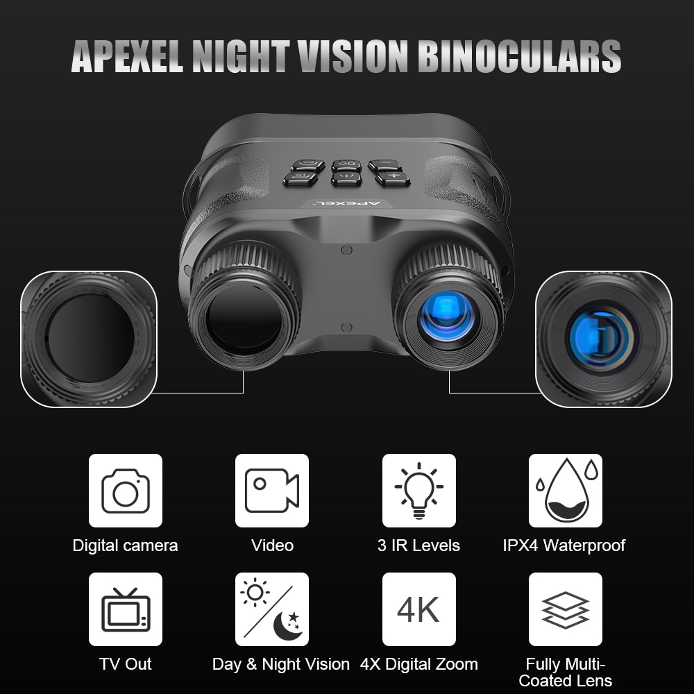 APEXEL HD Digital Night Vision Binoculars with LCD Screen Infrared (IR) camera waterproof zoom Device For Hunting Video record