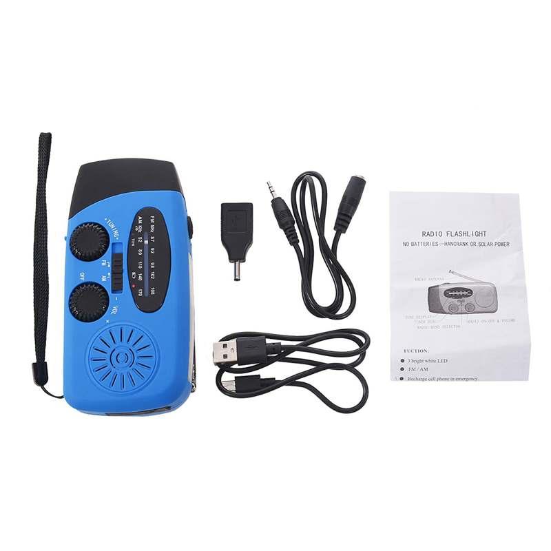 SOLAR RADIO Receiver Mini USB portable AM/FM/WB Weather Hand Crank With 3 LED Flashlight 1000 mAh power bank for outdoor dark