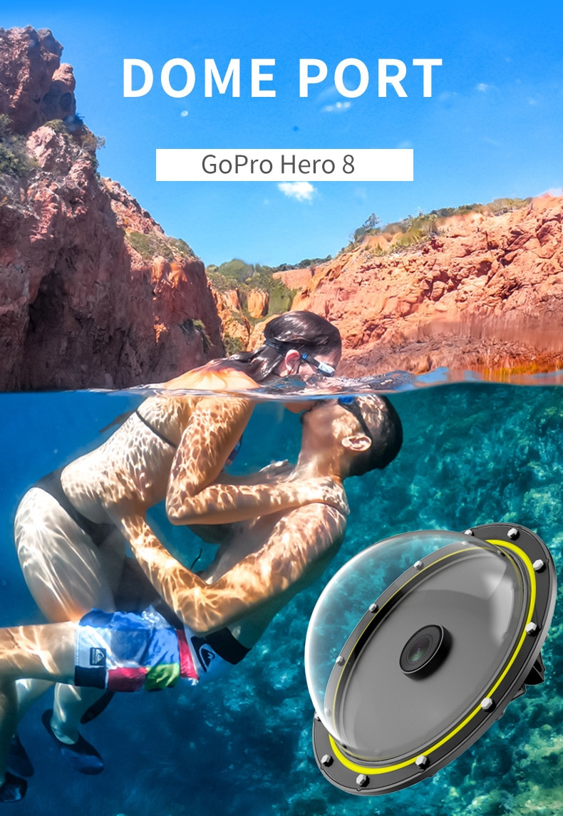 TELESIN Dome Port 30M Waterproof Diving Cover Housing Case 6'' Floating Handle Trigger For GoPro Hero 8 Camera Accessories