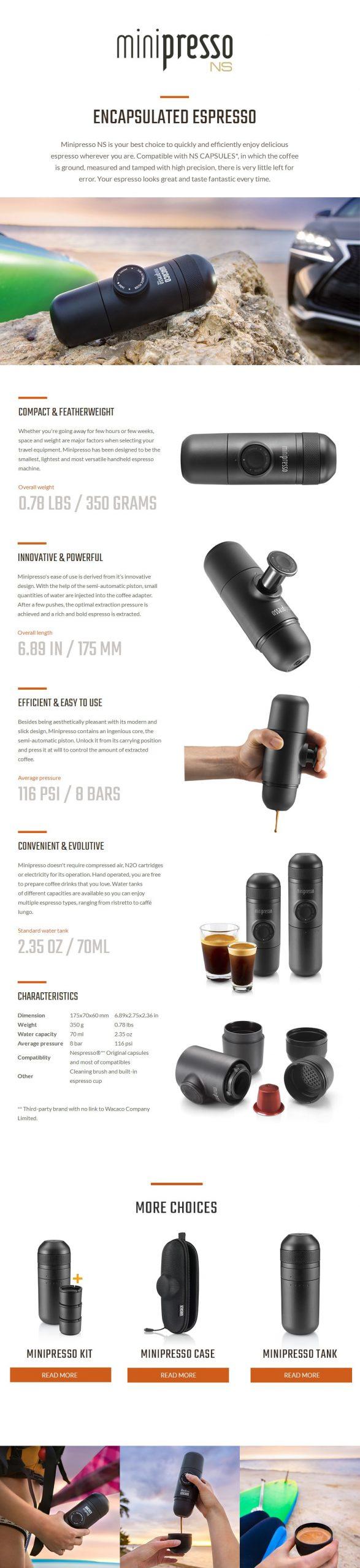Wacaco Minipresso NS, Portable Espresso Coffee Machine, Compatible NS Capsules*, Small Travel Coffee Maker,Mini coffee machine.