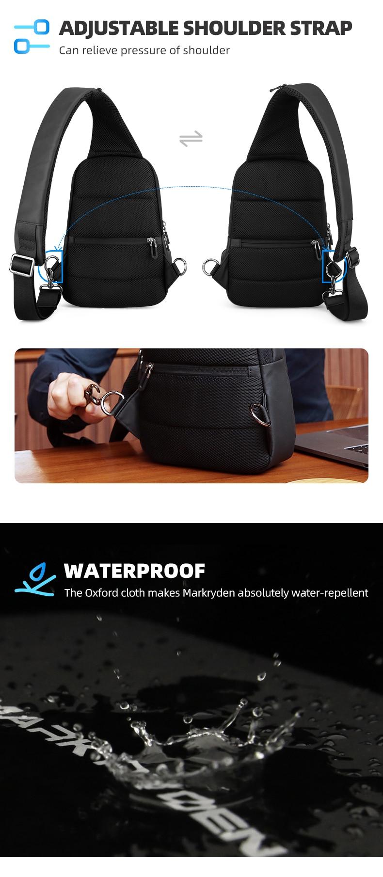 Mark Ryden Multifunction Crossbody Men Bags Waterproof USB Charging Sling Pack Short Trip Messengers Shoulder Bag Male