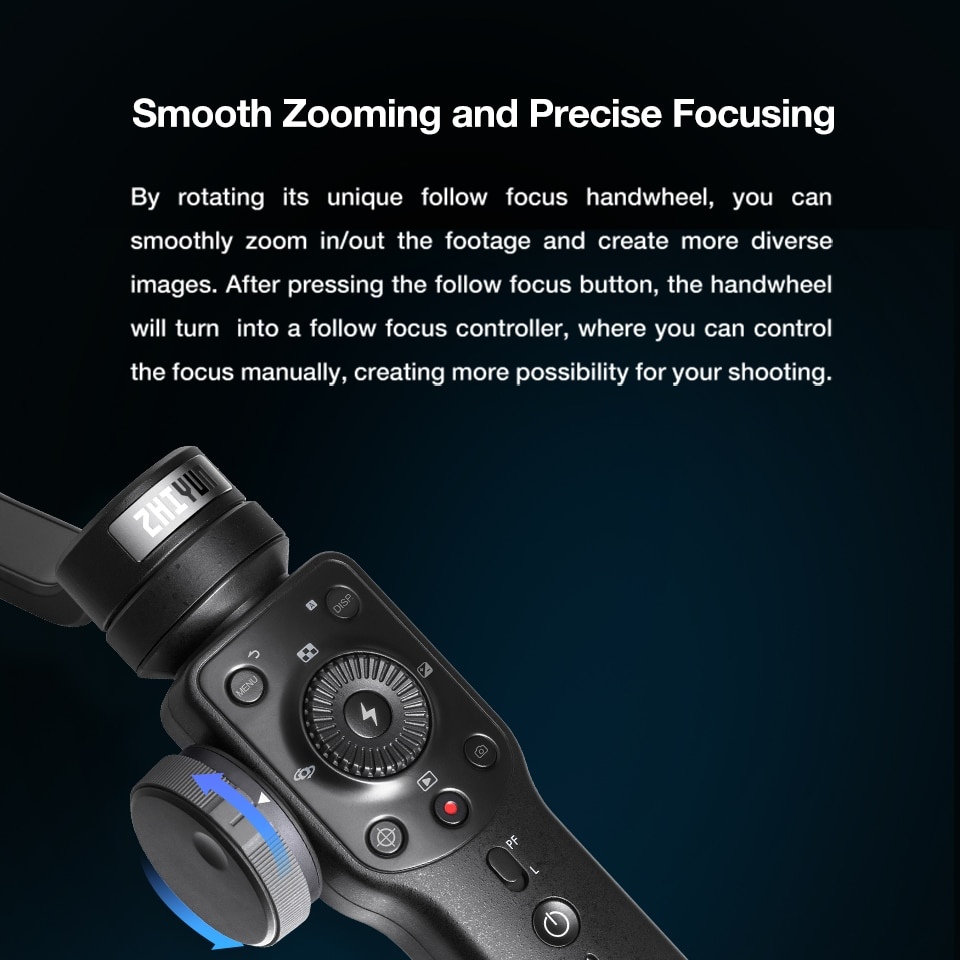 ZHIYUN Official Smooth 4 3-Axis Phone Gimbals Handheld Stabilizers for Smartphones iPhone/Samsung/Huawei/Xiaomi/Action Camera