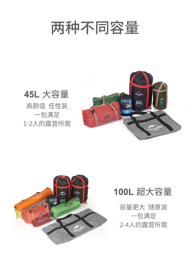 Naturehike 45L 100L Upgrade Folding Large Capacity Storage Bag Outdoor Ultralight Durable Bag Duffel Bag Portable Travel Camping