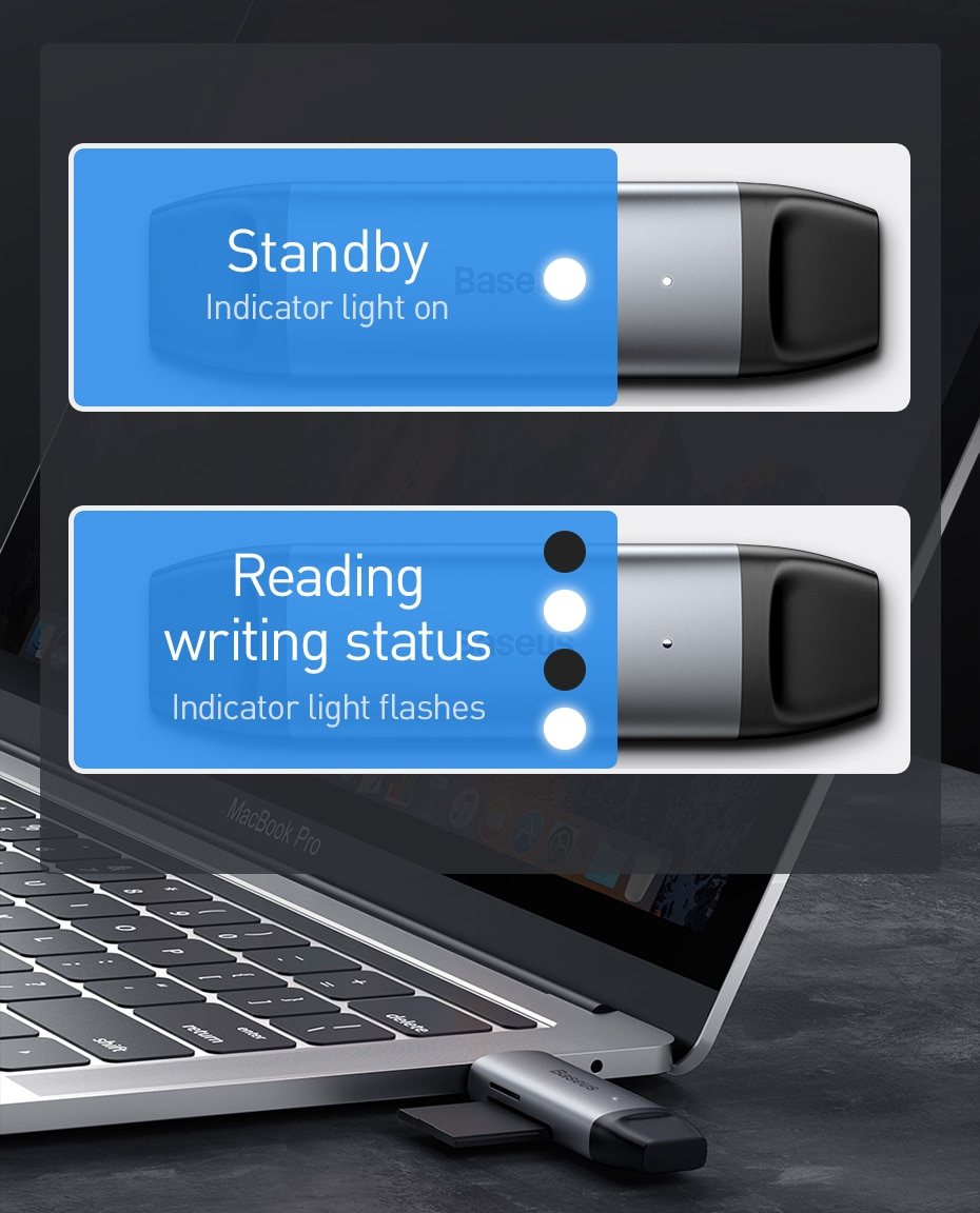 Baseus USB 3.0 Card Reader SD Micro SD TF Flash Card Adapter for Laptop OTG Type C to Multi Mobile Phone Card Reader USB 3.0