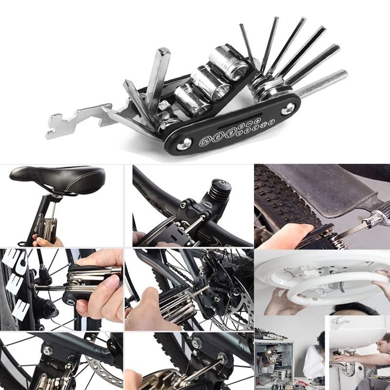 MTB Mountain cycle Portable socket multipurpose wrench bicycle multi tool Screwdriver Motorcycle bike allen fix Touring pocket