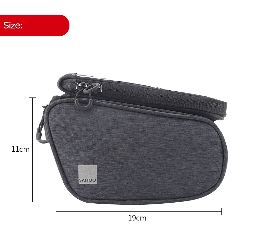Sahoo 121462-SA Touchscreen Bicycle Bike 6.5in Cell Mobile Phone Bag Front Frame Top Tube Cycling Pouch Double Pannier Pack