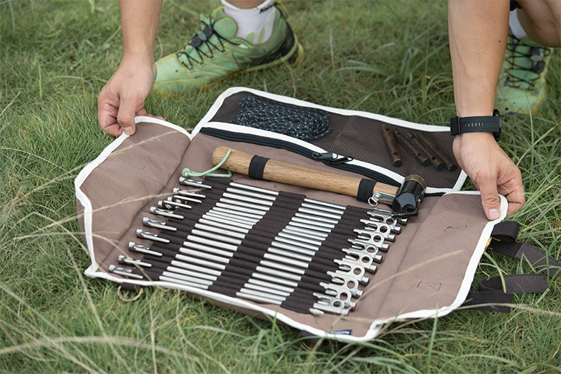 Naturehike New Outdoor Camping Equipment Storage Bags Tent Accessories Hammer Wind Rope Tent Pegs Nails Storage Bag Camping Tool