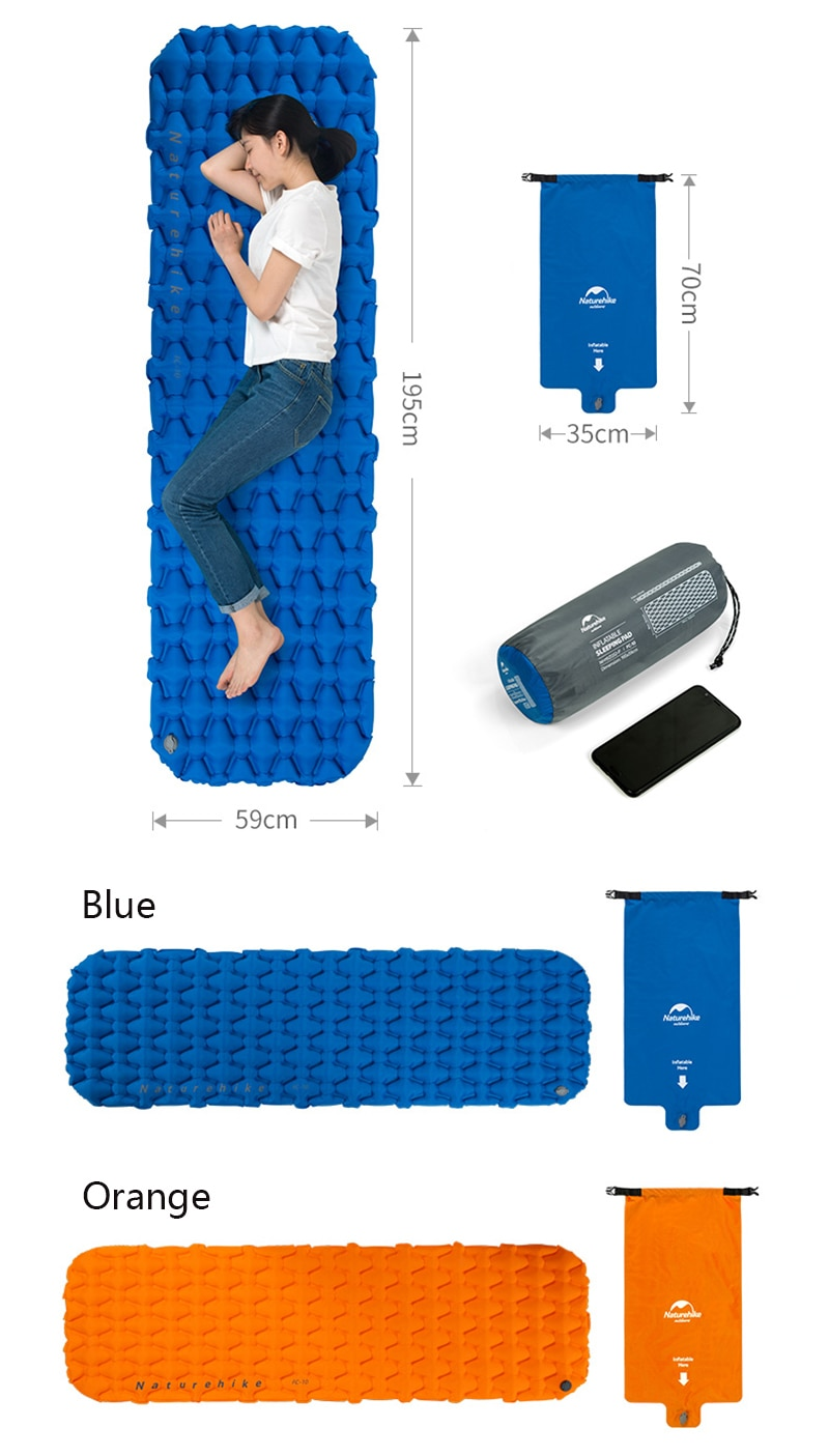 Naturehike New Arrive Inflatable Sleeping Pad With Air Bag Mattress Outdoor Camping Mat Ultralight Tent Camp Moisture-proof Pad