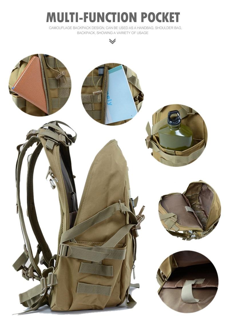 40L 15L Camping Backpack Military Bag Men Travel Bags Tactical Army Molle Climbing Rucksack Hiking Outdoor Sac De Sport XA714WA
