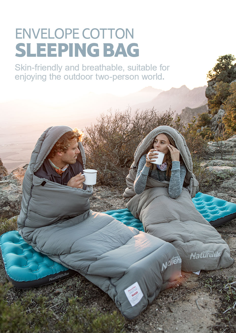 Naturehike 2021 New Arrive Ultralight Splice Envelope Cotton Sleeping Bag Can Be Machine Cleaned With Cap Sleeping Bag
