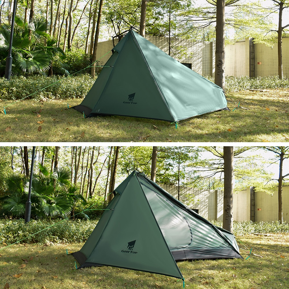 GeerTop Ultralight Camping Tent One Person 3 Season Waterproof 950g Backpacking Tents No Trekking Poles for Outdoor Hike Tourist