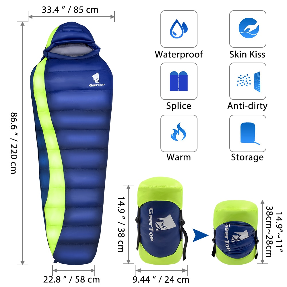 GeerTop Down Fill Ultralight Sleeping Bag Hammock Tent Waterproof Winter Mummy for Camping Outdoor Adults Kids 4 Season