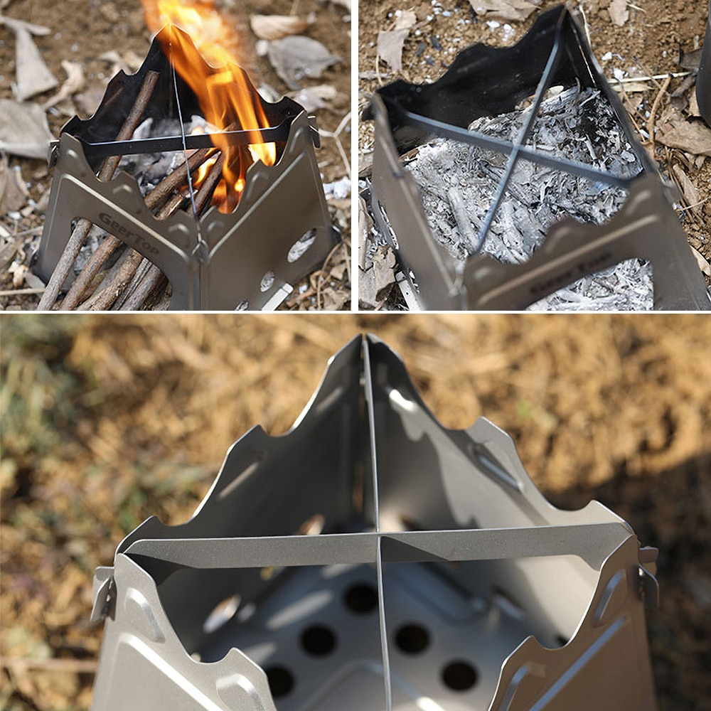 GeerTop Portable Camping Wood Stove Folding Stainless Tourist Stove Firewood Fire Maple Cockle for Hike Tent Heater Outdoor Cook