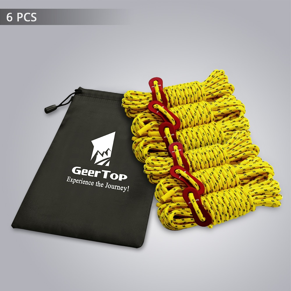 GeerTop Reflective Tent Rope 13ft 4mm Camping Rope with Aluminum Tensioner Tightener Guy Line Equipment for Outdoor Survival