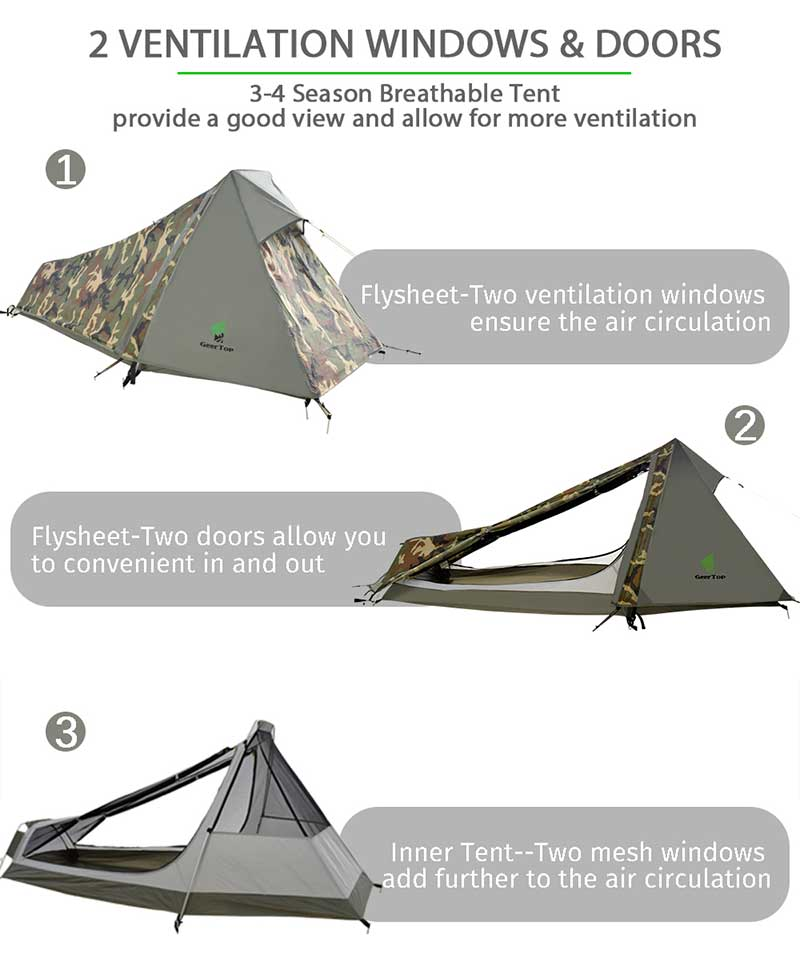 GeerTop One Person Bivy Tent 3-4 Season Camping Tents Ultralight Waterproof Army Bivvy Tents Outdoor Hiking Backpacking Tourist