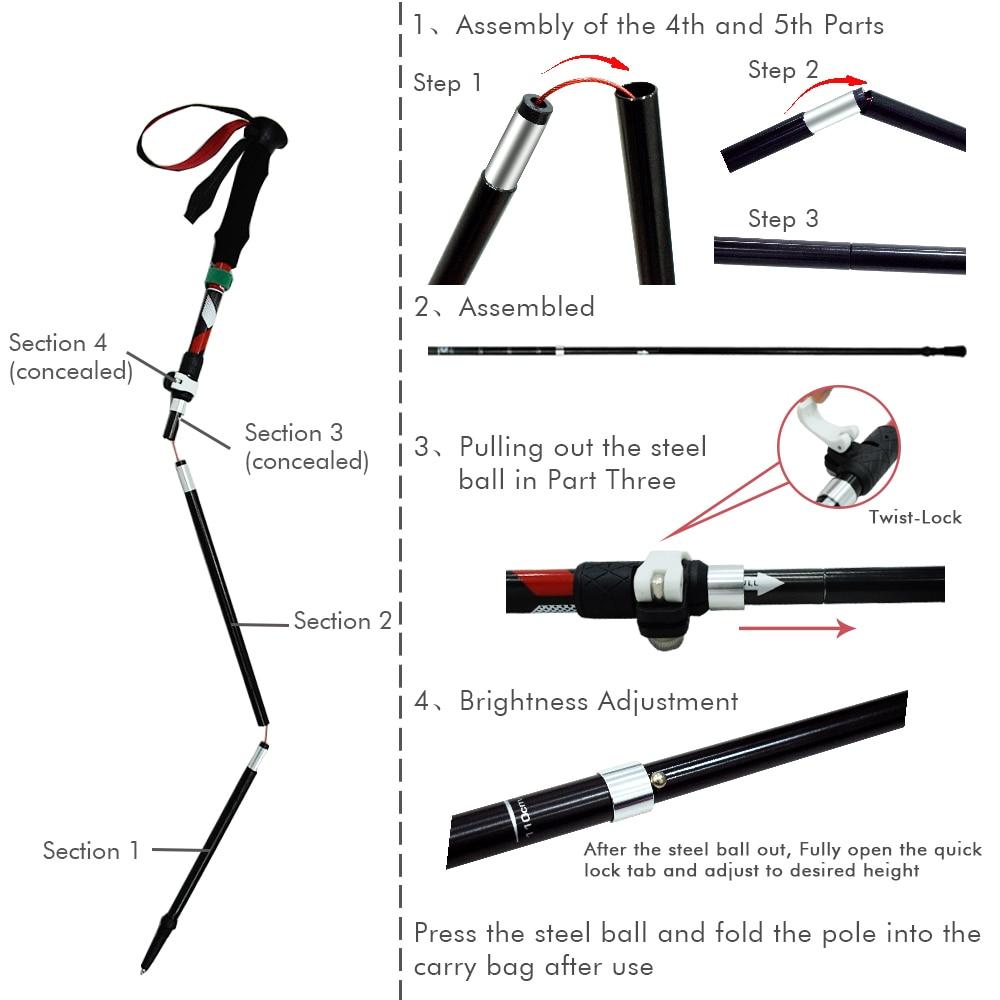 GeerTop Ultralight Aluminum Telescopic Trekking Pole 3-Section Comfortable Handle Trekking Sticks for Walking Hiking Mountain