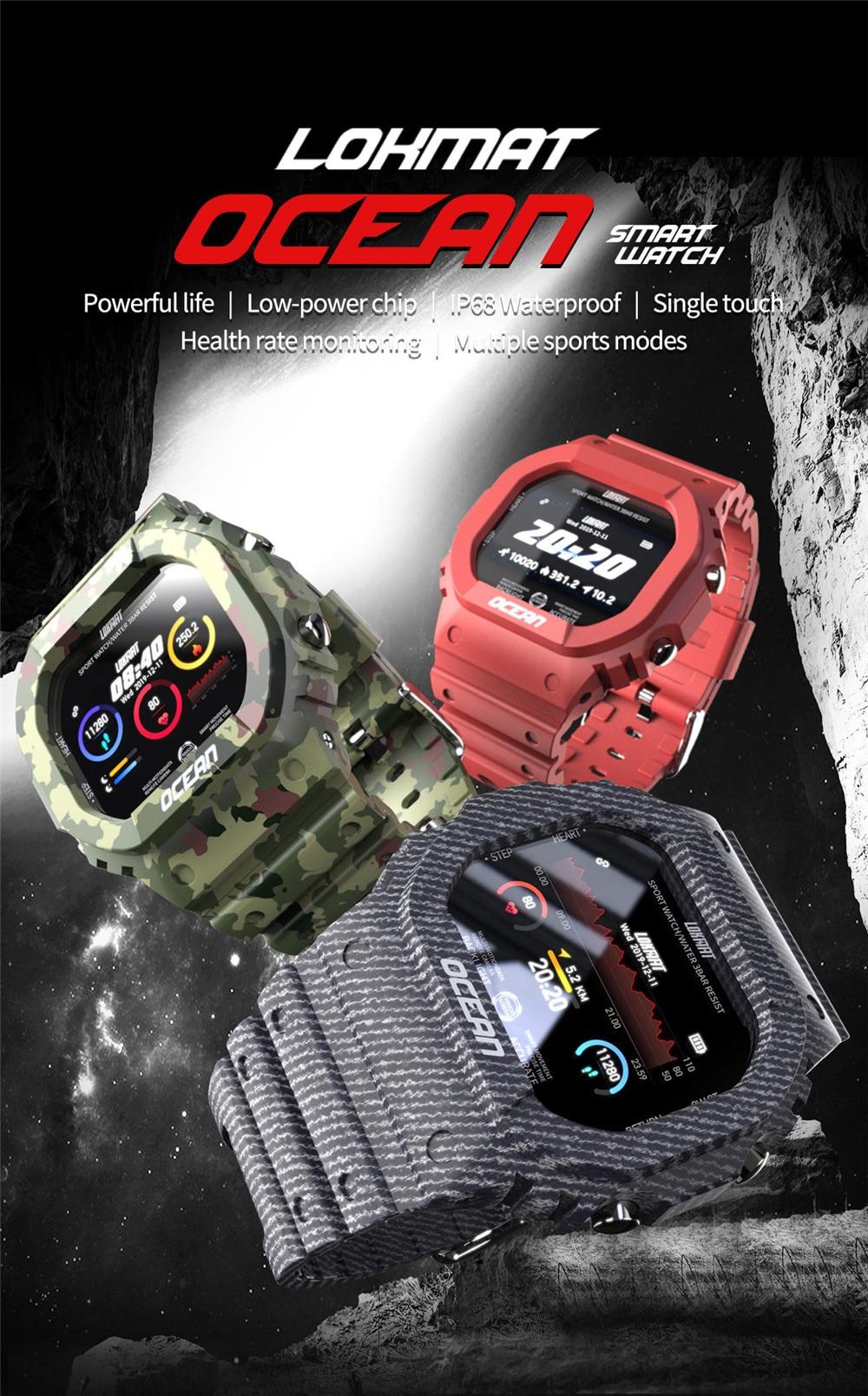 Lokmat Time Ocean Sports Smart Watch Women IP68 Waterproof Fitness Rugged Outdoor Smartwatch Men for Smart Phone Dropshipping