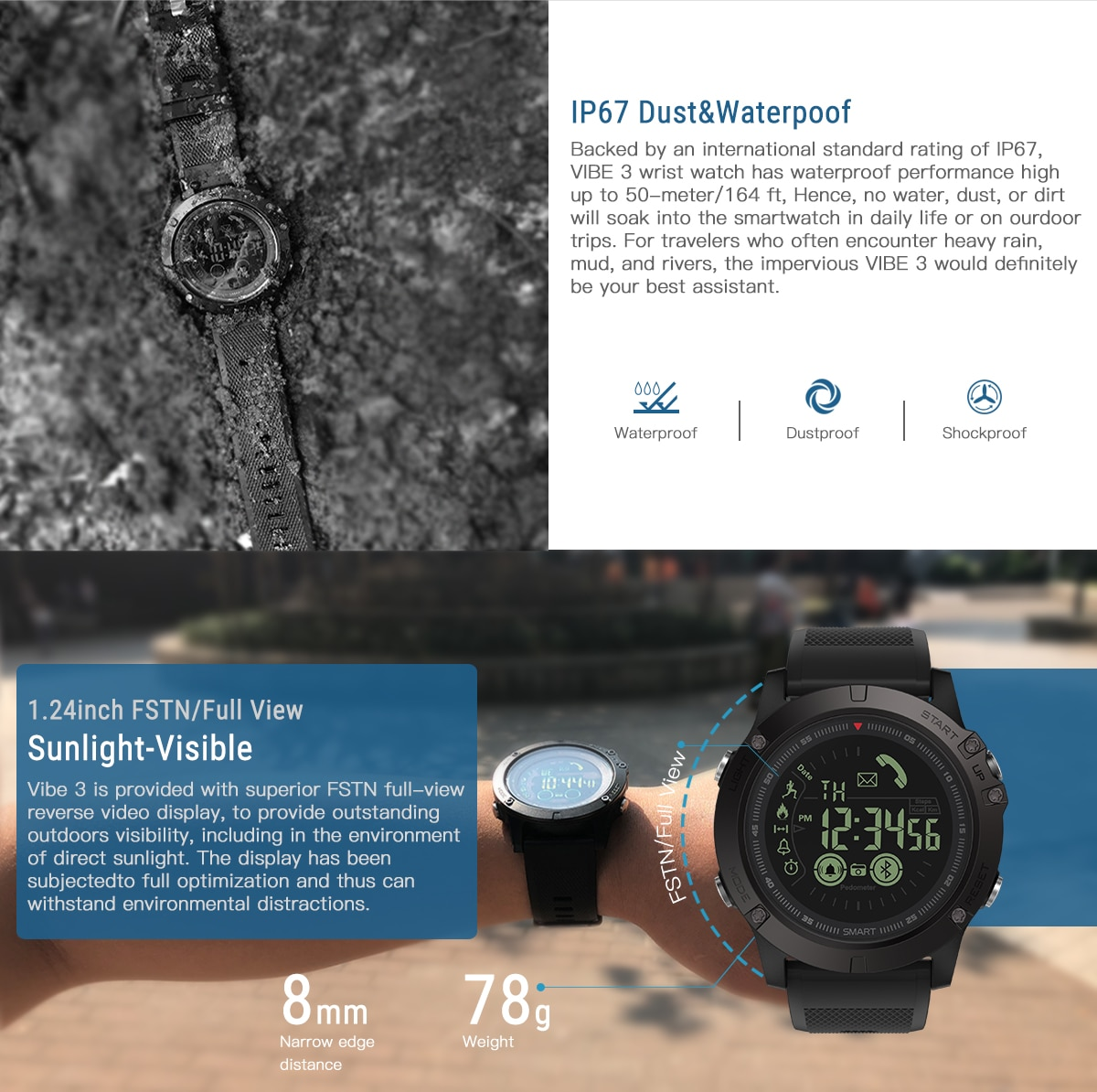 Zeblaze VIBE 3 Flagship Rugged Smartwatch 33-month Standby Time 24h All-Weather Monitoring Smart Watch For IOS And Android