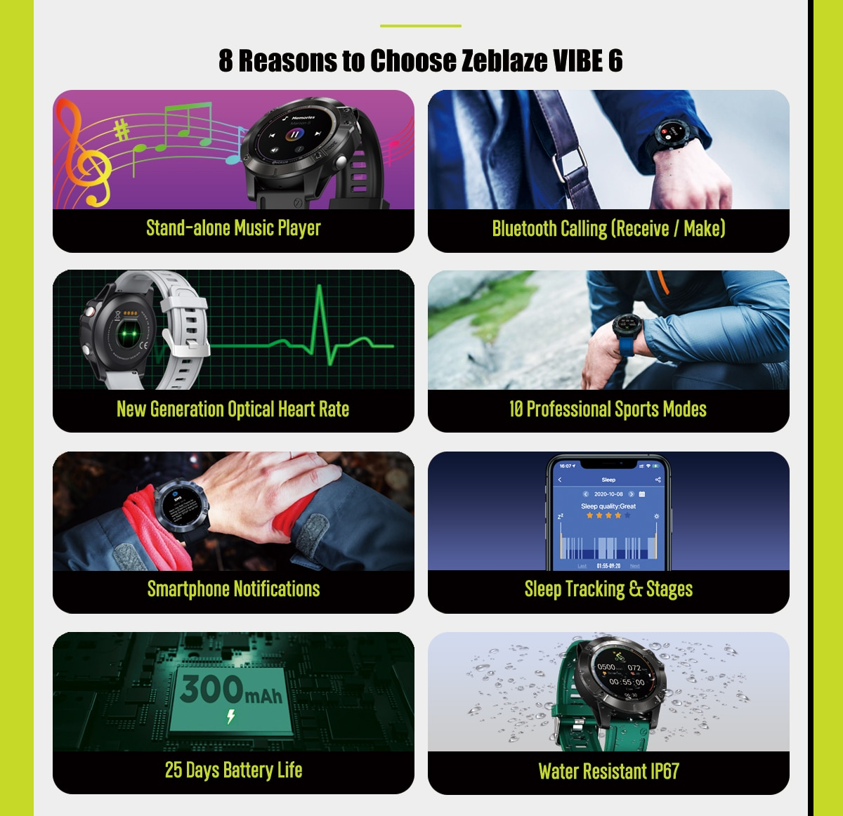 New Zeblaze VIBE 6 Smart watch Music Player Receive/Make Call Heart Rate 25 days Battery Life smartwatch 2020 sport watch