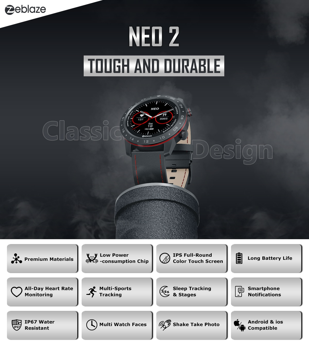 The New 2020 Zeblaze NEO 2 Smartwatch Health&Fitness Waterproof/Better Battery Life Classic Design Bluetooth 5.0 For Android/IOS