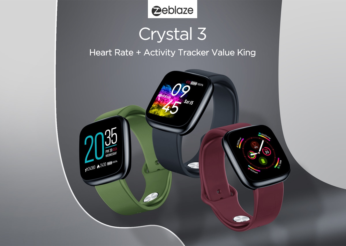 [Value King]Zeblaze Crystal 3 Smartwatch WR IP67 Heart Rate Blood Pressure Long Battery Life IPS Color Display Smart Watch