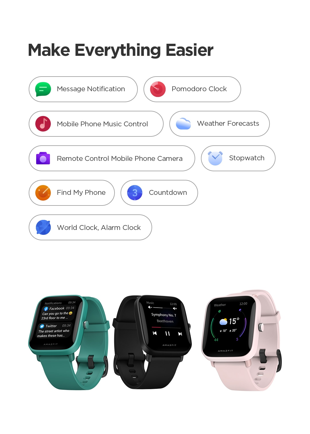 Amazfit Bip U Pro GPS Smartwatch Color Screen 31g 5 ATM Water-resistance 60+ Sports Mode Heart Rate Smart Watch for Android