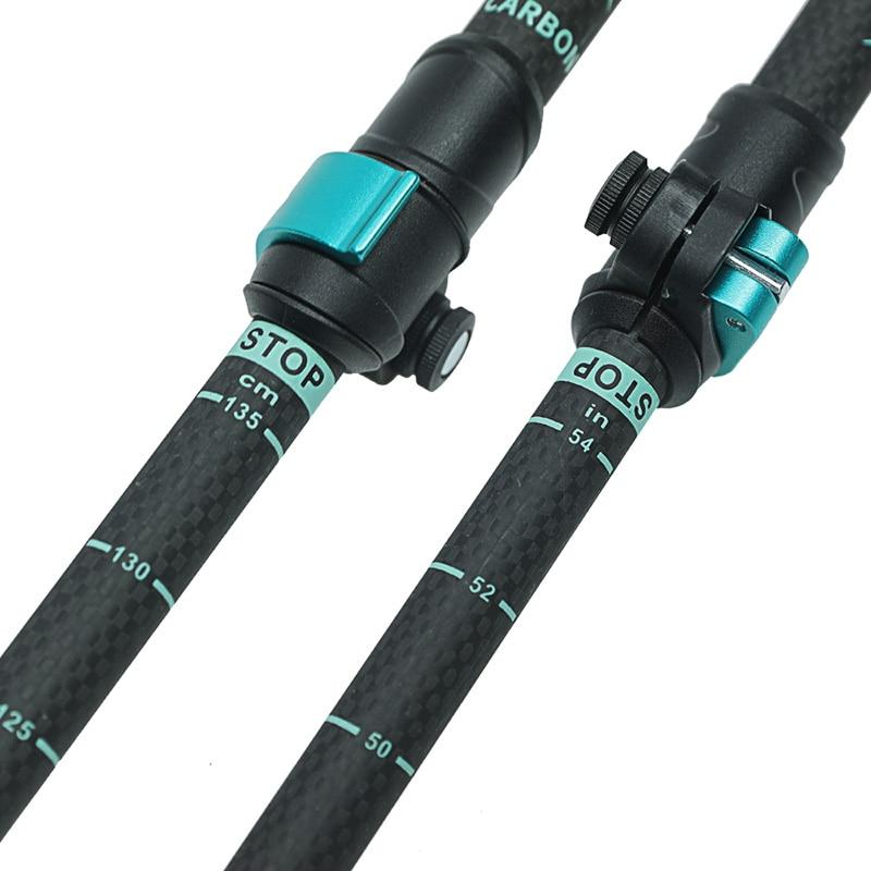 195g/pc carbon fiber external quick lock Trekking pole hiking telescope stick nordic walking stick Shooting Crutch Senderismo