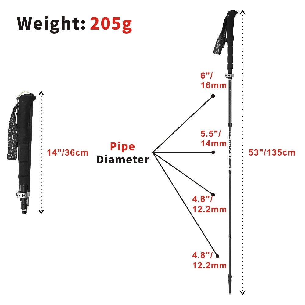 Hitorhike carbon fiber walking sticks camping hiking Ultralight folding Adjustable Telescopic Alpenstocks Trekking Pole walking