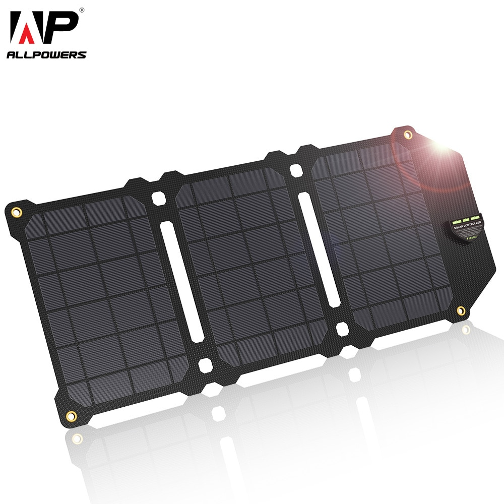 ALLPOWERS 21W Solar Panel Solar Cells Portable Solar Charger Batteries Phone Charging for Sony iPhoneX Plus 11Pro iPad
